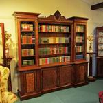 Fabulous Large Figured and Burr Walnut Inverted  Breakfront Antique Bookcase - Click to Enlarge