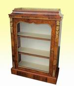 Fabulous Quality Inlaid Figured Walnut Ormolu Mounted Antique Pier Display Cabinet - Click to Enlarge