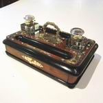 Victorian Brass Bound Walnut And Black Antique Desk Set  - Click to Enlarge
