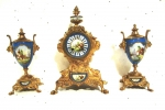 Beautiful 19th Century  French Clock Garniture Set - Click to Enlarge