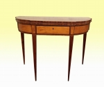 A Beautiful Antique Inlaid Georgian Mahogany and Satinwood Turn Over Leaf Period Tea Table With Drawer  - Click to Enlarge