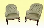 Superb Pair Of  Very Comfortable Antique Deep Buttoned Cabriole Leg Tub Chairs - Click to Enlarge