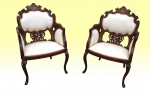 A Wonderful Pair Of Antique Inlaid Rosewood and  Mahogany Parlor Arm Chairs In Superb Quality - Click to Enlarge