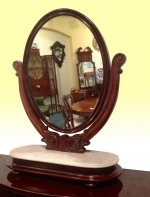 Quality Antique Mahogany Dressing Table Toilet Mirror - Click to Enlarge