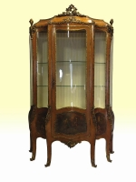 An Antique Kingwood  French Bombe Vernis Martin Display Cabinet - Click to Enlarge
