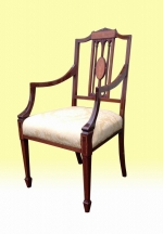 Stunning Antique Mahogany and Satinwood Inlaid Armchair / Desk Chair - Click to Enlarge