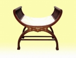 Superb Inlaid Mahogany X Frame Antique Dressing Stool - Click to Enlarge