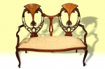 Stunning Quality Antique Inlaid mahogany and satinwood   Settee - Click to Enlarge