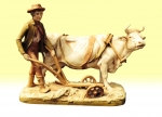 Superb large antique Royal Dux  group of  Cow and Plough Man - Click to Enlarge