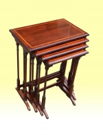 Superb Nest Of Four Antique Inlaid Mahogany  Tables - Click to Enlarge