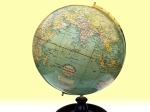Antique Excelsior 12ins Plaster World Table Globe By Bacon - Click to Enlarge