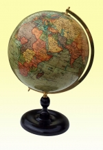ANTIQUE 10ins GEOGRAPHIA TERRESTRIAL ANTIQUE ATLAS WORLD TABLE GLOBE - Click to Enlarge