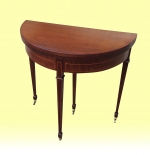 Quality Antique Demi Lune Inlaid Mahogany Games Table - Click to Enlarge