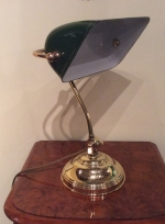 Quality antique brass and green and white enamel bankers desk lamp - Click to Enlarge