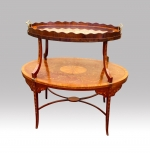 Beautiful Inlaid Marquetry Mahogany And Satinwood Antique Etargere Complete With Glass Tray - Click to Enlarge