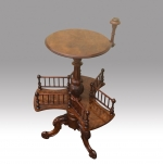 Superb Victorian Antique Burr Walnut Revolving Book Table  - Click to Enlarge