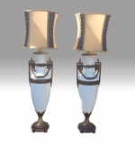 Magnificent Pair Of  Very Tall Antique Bronze And White Glass Table Lamps - Click to Enlarge
