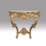 Quality Carved Antique Gilt  Wood Console Table With Serpentined Shaped Marble Top   - Click to Enlarge