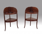 Superb Pair Of Georgian Corner Wash Stand Tables With Gallery Backs - Click to Enlarge