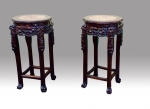 Pair Of Antique Chinese Hard Wood Stands With Marble Tops  - Click to Enlarge