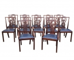Set of Twelve Antique Mahogany Dining Chairs - Click to Enlarge