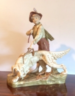 Fabulous Antique Royal Dux Figure Group Of Boy And Dog - Click to Enlarge