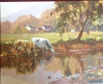 Framed Irish Painting by Donal McNaughton (Two Cows A Drinking) - Click to Enlarge
