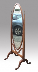 Fine antique Edwardian Cheval mirror - Click to Enlarge