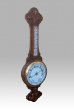 Superb antique golden oak aneroid banjo barometer - Click to Enlarge