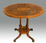 Stunning antique burr walnut, inlaid Victorian  oval occasionall lamp  table.  - Click to Enlarge