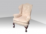 Quality Antique Upholstered Wing Back Chair - Click to Enlarge