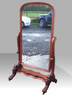 Quality Antique Mahogany Cheval Mirror In Stunning Original Condition - Click to Enlarge