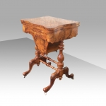 A fabulous burr walnut & marquetry inlaid antique work table with back gammon  - Click to Enlarge