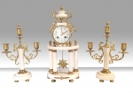 Antique marble and gilt bronze marble mantel three piece clock set garniture  - Click to Enlarge