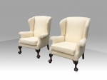 Superb pair of antique wing back chairs - Click to Enlarge
