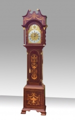 Magnificent Edwardian 8 Day 8 Bell Mahogany Inlaid,Antique Long Case Grandfather Clock - Click to Enlarge