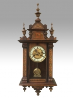 Lovely Small Antique Inlaid  Vienna Spring Wall Clock. - Click to Enlarge