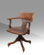 Antique swivel oak desk chair - Click to Enlarge