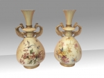 Very Fine Pair Of Antique  Painted  And Blush Ivory  Royal Worcester Vases - Click to Enlarge