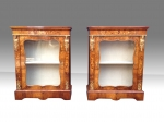 Fabulous Pair Of Antique Figured Walnut and Marquetry Pier Side Display Cabinets - Click to Enlarge