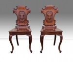 Lovely pair of antique cabriole leg mahogany hall coaching chairs, - Click to Enlarge
