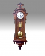 Fabulous Double Weighter Antique Vienna Black and Walnut Wall Clock.  - Click to Enlarge