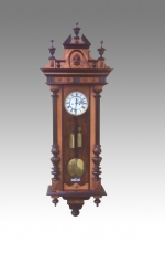 Quality Antique Victorian Black and Walnut Double Weight Vienna Clock. - Click to Enlarge
