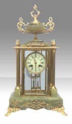 Stunning four glass onyx and brass mantel clock - Click to Enlarge