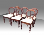 Superb set of 6 Six Antique Balloon Back  Mahogany Dining Chairs - Click to Enlarge