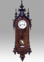 Fabulous quality black and walnut, 8 day, spring driven Antique  vienna wall clock. - Click to Enlarge