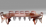 Large Three Leaf Antique Oval Dining Table of Extreme Quality with Pedestal Legs  - Click to Enlarge