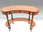 Gillows kidney shaped burr walnut and satinwood inlaid  writing desk - Click to Enlarge