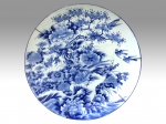 Magnificent Very Large Antique Japanese  Imari Blue And White Hand Painted Charger Plate. - Click to Enlarge