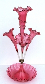 Beautiful Genuine Antique Ruby Glass Epergne, - Click to Enlarge